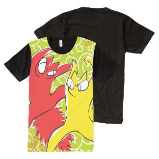 Camiseta Con Estampado Integral Ejemplo divertido cómico del asiático del gato de