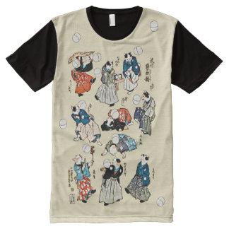 Camiseta Con Estampado Integral El gato japonés del vintage se divierte arte