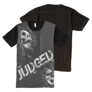 Camiseta Con Estampado Integral El negro de los hombres juzgado sobre y debajo de