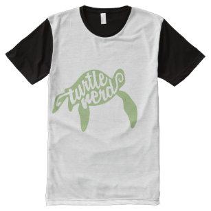 eef9f1a9f Camiseta Con Estampado Integral Empollón de la tortuga (verde)