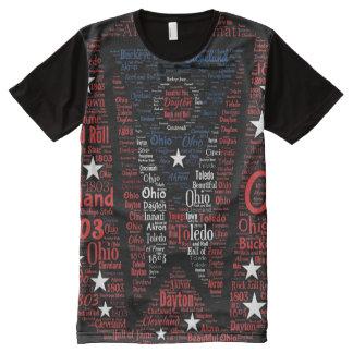 Camiseta Con Estampado Integral Estado del arte de la palabra de la bandera de