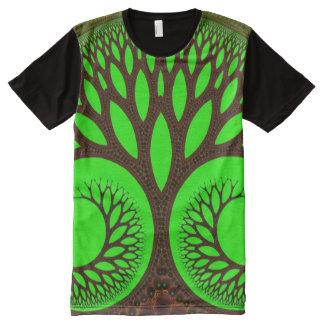 Camiseta Con Estampado Integral Fractal fino abstracto del árbol 2