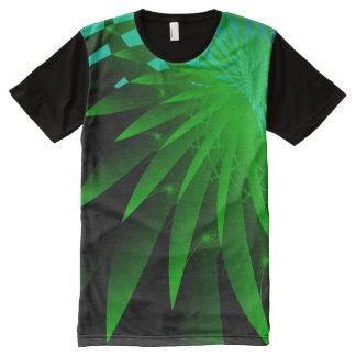Camiseta Con Estampado Integral Fractal fino abstracto psicodélico de la alga