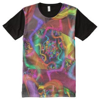 Camiseta Con Estampado Integral Fractal fino abstracto psicodélico de la danza 2