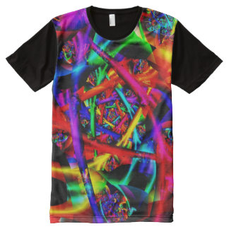 Camiseta Con Estampado Integral Fractal fino abstracto psicodélico del fuego