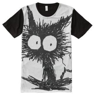 Camiseta Con Estampado Integral Gatito desalinado negro GabiGabi