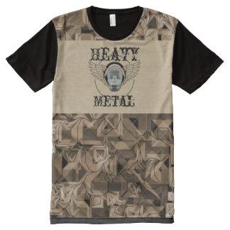 Camiseta Con Estampado Integral -Heavy Metal playera con calavera