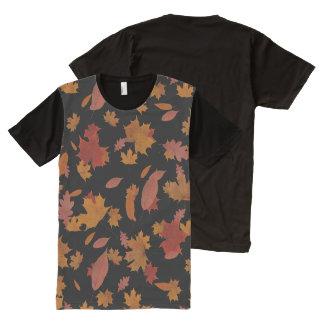 Camiseta Con Estampado Integral Hojas de otoño de la naturaleza que caen en negro