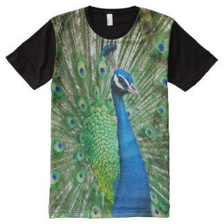 Camiseta Con Estampado Integral Impresión del pavo real de las criaturas de todo