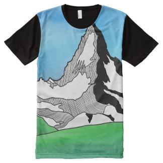 Camiseta Con Estampado Integral Línea acuarela de Cervino Suiza del arte