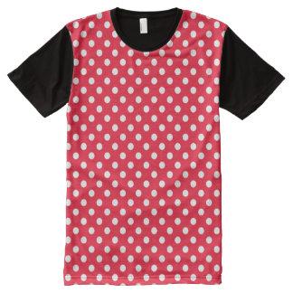 Camiseta Con Estampado Integral Lunares rojos y blancos