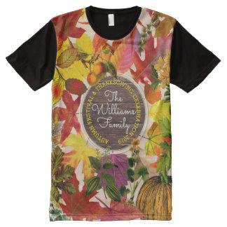 Camiseta Con Estampado Integral Madera del vintage del collage de las hojas de