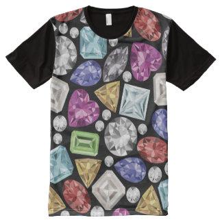 Camiseta Con Estampado Integral Modelo colorido lujoso del diamante