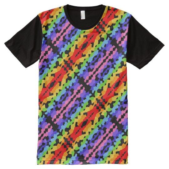 Camiseta Con Estampado Integral Modelo de mosaico del fractal del arco iris con