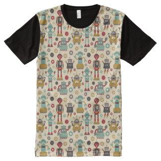 Camiseta Con Estampado Integral Modelo ilustrado robots retros de la diversión