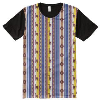 Camiseta Con Estampado Integral Modelo peruano azul y marrón de la llama
