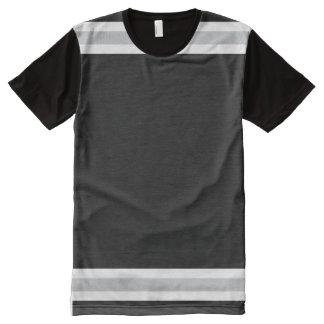 Camiseta Con Estampado Integral Negro con blanco y borde de plata
