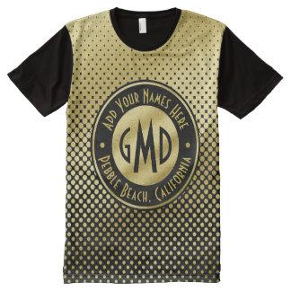Camiseta Con Estampado Integral Negro del brillo del oro del monograma de los
