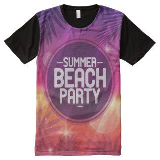 Camiseta Con Estampado Integral Noche del fiesta de la playa del verano