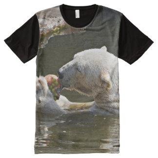 Camiseta Con Estampado Integral Oso polar que come en agua