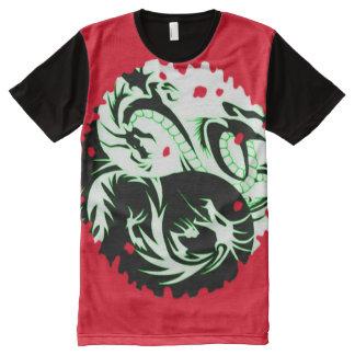 Camiseta Con Estampado Integral Personalizado rojo fresco del símbolo del dragón