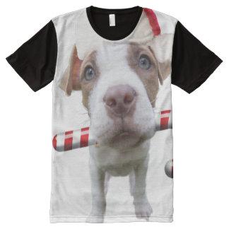 Camiseta Con Estampado Integral Pitbull del navidad - pitbull de santa - perro de