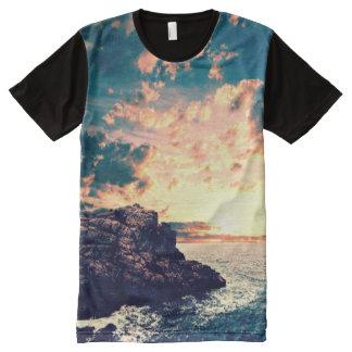 Camiseta Con Estampado Integral Puesta del sol en el horizonte