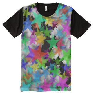 Camiseta Con Estampado Integral Refresque la nieve del arco iris de las estrellas