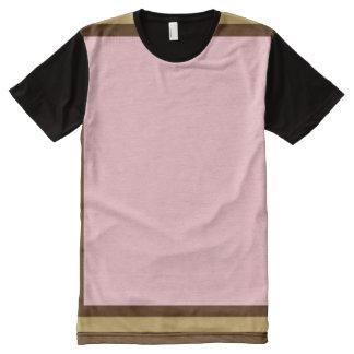 Camiseta Con Estampado Integral Rosa con Brown y el ajuste del modo