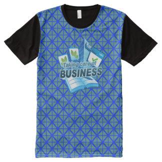Camiseta Con Estampado Integral Tomando al cuidado del azul del negocio toda la