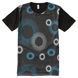 Camiseta Con Estampado Integral Turquesa Starburst negro blanco
