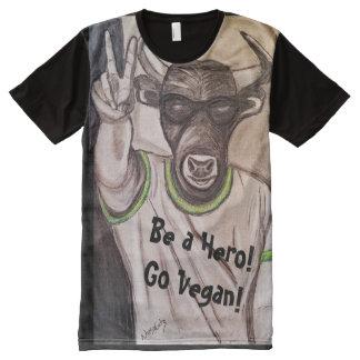 Camiseta Con Estampado Integral Vegano Bull (héroe)