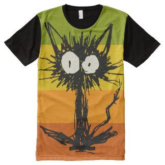 Camiseta Con Estampado Integral Verde amarillo anaranjado del gato del susto