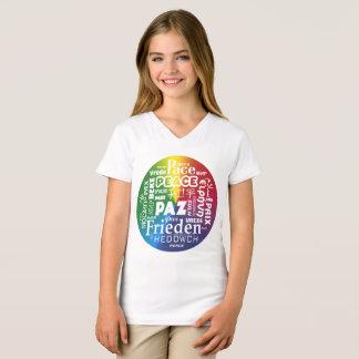 Camiseta con paz del arco iris en idiomas multi