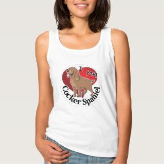 Camiseta Con Tirantes Amo mi cocker divertido y lindo adorable feliz
