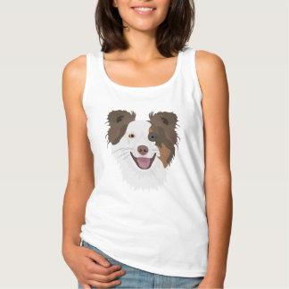 Camiseta Con Tirantes Border collie feliz de la cara de los perros del