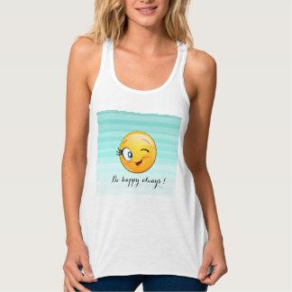 Camiseta Con Tirantes Emoji sonriente de guiño adorable Cara-Es feliz