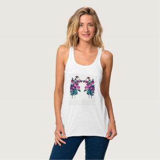 Camiseta Con Tirantes Floración floral de Flowy Racerback de la lona de