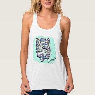 Camiseta Con Tirantes Gato con clase del AF en sombrero de copa con la
