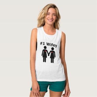 Camiseta Con Tirantes Interés lesbiano de #1 Wifey de sentimientos