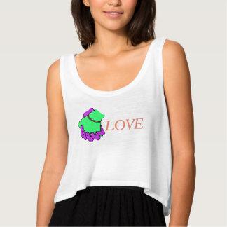 Camiseta Con Tirantes Mano del arte pop que sostiene el tanque de la