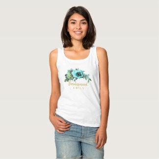 Camiseta Con Tirantes Nombre verde azulado ID456 de la dama de honor del
