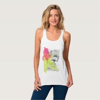 Camiseta Con Tirantes Pájaro del flamenco de la playa del movimiento de