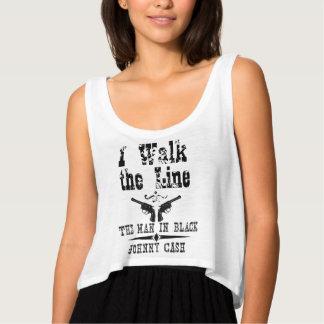 Camiseta Con Tirantes Paseo de Johnny Cash la línea diseño del negro