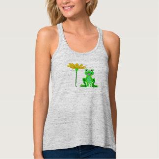 Camiseta Con Tirantes pequeña rana y flor amarilla