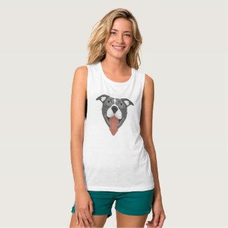Camiseta Con Tirantes Perro Pitbull sonriente del ilustracion