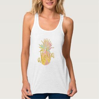 Camiseta Con Tirantes Piña de lujo del pastel del brillo del oro de la