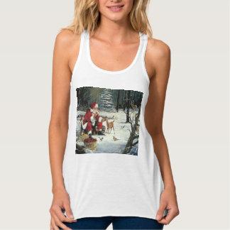 Camiseta Con Tirantes Pintura de Papá Noel - arte del navidad