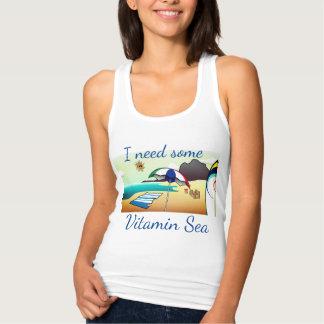 """Camiseta Con Tirantes Playa divertida """"necesito algún mar de la"""