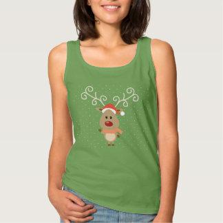 Camiseta Con Tirantes Rudolph lindo el dibujo animado sospechado rojo